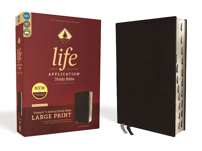 NIV Life Application Study Bible/Large Print (Third Edition)-Black Bonded Leather Indexed | SHOPtheWORD