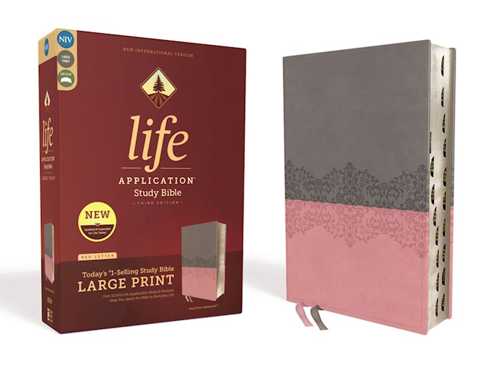 NIV Life Application Study Bible/Large Print (Third Edition)-Gray/Pink Leathersoft Indexed | SHOPtheWORD