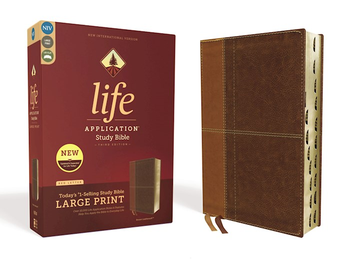 NIV Life Application Study Bible/Large Print (Third Edition)-Brown Leathersoft Indexed | SHOPtheWORD