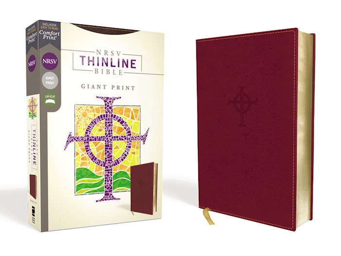 NRSV Thinline Bible/Giant Print (Comfort Print)-Burgundy Leathersoft | SHOPtheWORD