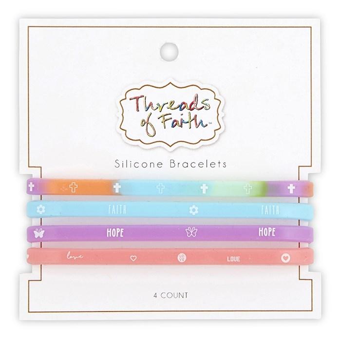 Bracelet Set-Threads Of Faith-Silicone-Cross/Faith/Hope/Love (Set Of 4) | SHOPtheWORD