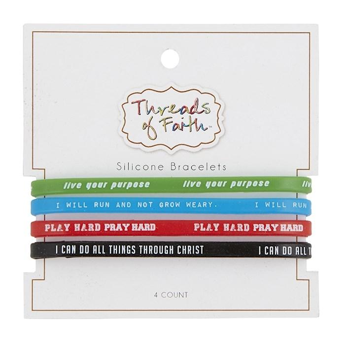 Bracelet Set-Threads Of Faith-Silicone-Live/Run/Play/Do (Set Of 4) | SHOPtheWORD