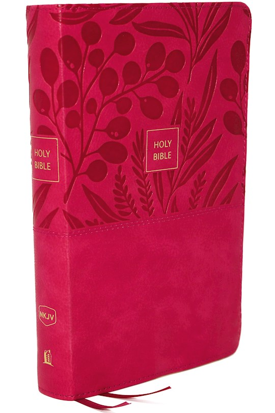 NKJV Compact Large Print Reference Bible (Comfort Print)-Pink Leathersoft   SHOPtheWORD
