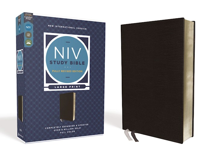 NIV Study Bible/Large Print (Fully Revised Edition) (Comfort Print)-Black Bonded Leather | SHOPtheWORD