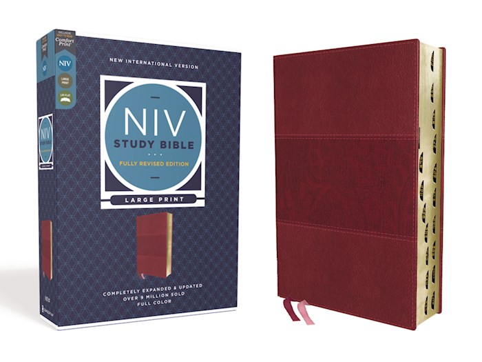 NIV Study Bible/Large Print (Fully Revised Edition) (Comfort Print)-Burgundy Leathersoft Indexed | SHOPtheWORD
