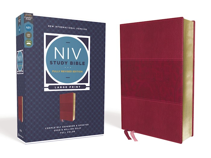 NIV Study Bible/Large Print (Fully Revised Edition) (Comfort Print)-Burgundy Leathersoft | SHOPtheWORD