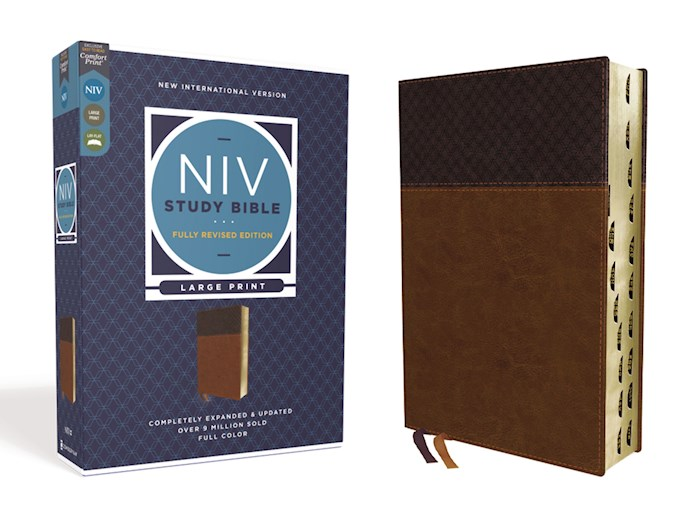 NIV Study Bible/Large Print (Fully Revised Edition) (Comfort Print)-Brown Leathersoft Indexed | SHOPtheWORD