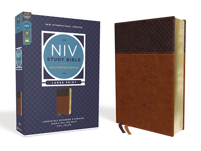 NIV Study Bible/Large Print (Fully Revised Edition) (Comfort Print)-Brown Leathersoft | SHOPtheWORD