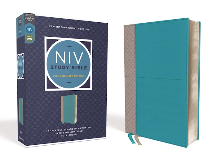 NIV Study Bible (Fully Revised Edition) (Comfort Print)-Teal/Gray Leathersoft | SHOPtheWORD
