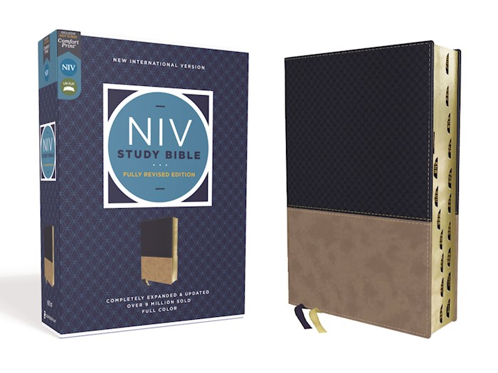 NIV Study Bible (Fully Revised Edition) (Comfort Print)-Navy/Tan Leathersoft Indexed | SHOPtheWORD
