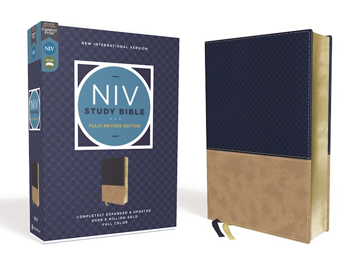 NIV Study Bible (Fully Revised Edition) (Comfort Print)-Navy/Tan Leathersoft | SHOPtheWORD