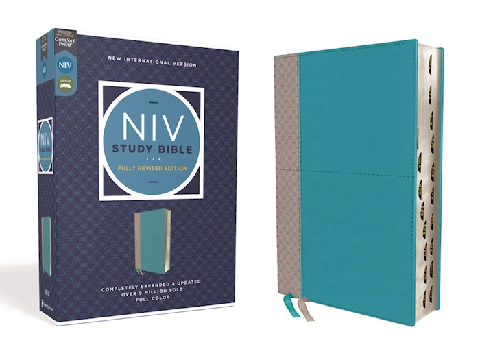 NIV Study Bible (Fully Revised Edition) (Comfort Print)-Teal/Gray Leathersoft Indexed | SHOPtheWORD