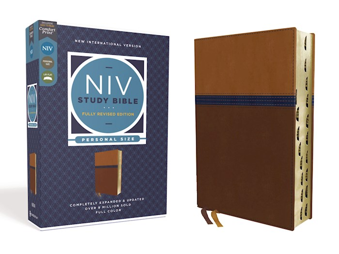 NIV Study Bible/Personal Size (Fully Revised Edition) (Comfort Print)-Brown/Blue Leathersoft Indexed | SHOPtheWORD
