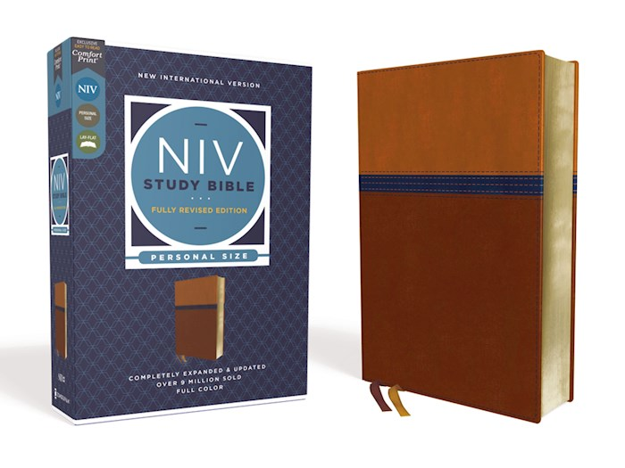 NIV Study Bible/Personal Size (Fully Revised Edition) (Comfort Print)-Brown/Blue Leathersoft | SHOPtheWORD