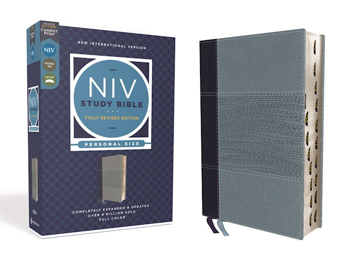NIV Study Bible/Personal Size (Fully Revised Edition) (Comfort Print)-Navy/Slate Blue Leathersoft Indexed | SHOPtheWORD
