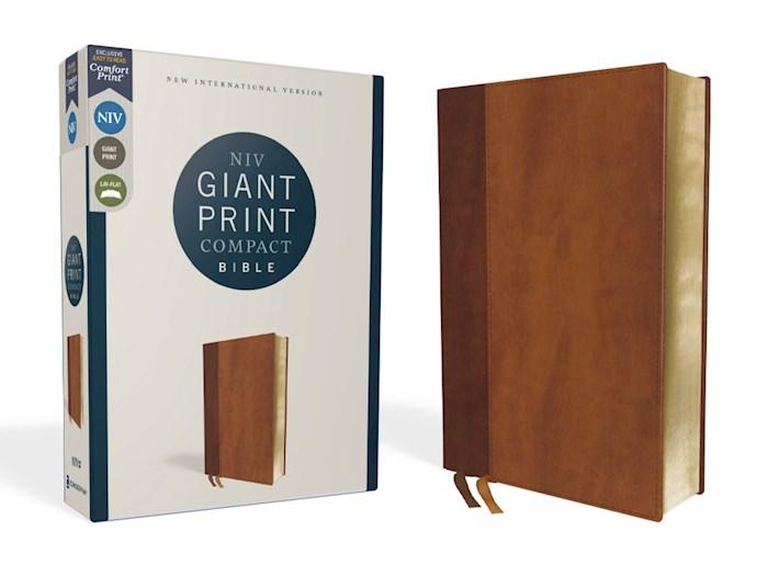 NIV Giant Print Compact Bible (Comfort Print)-Brown Leathersoft | SHOPtheWORD