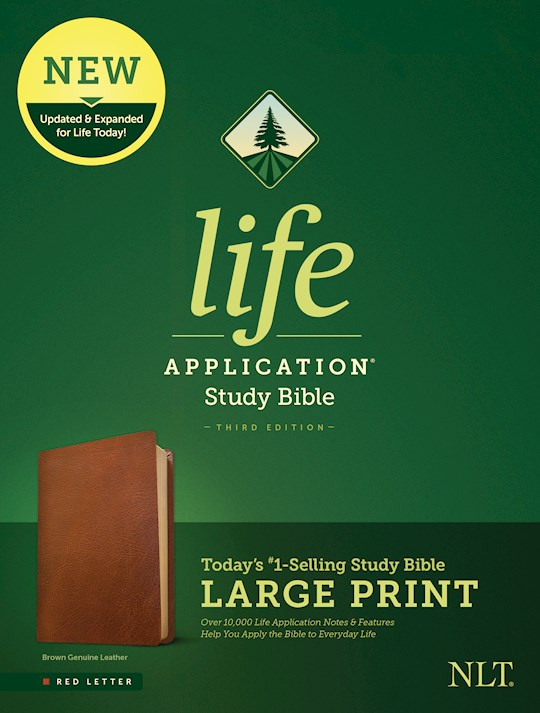 NLT Life Application Study Bible/Large Print (Third Edition) (RL)-Brown Genuine Leather | SHOPtheWORD