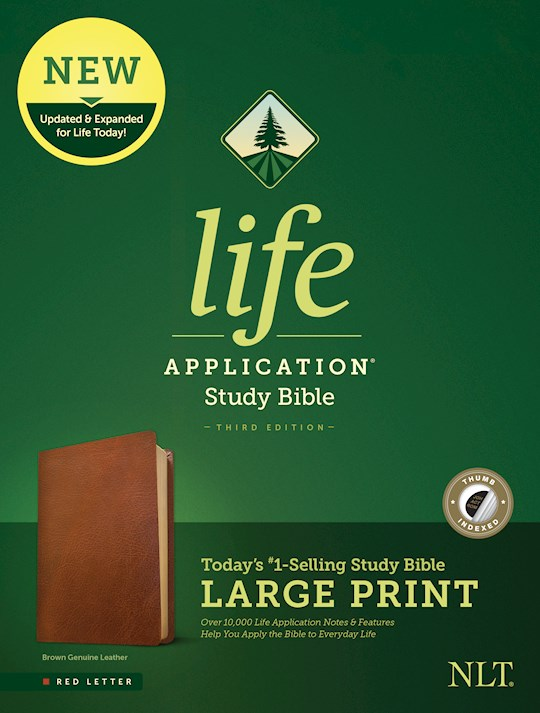 NLT Life Application Study Bible/Large Print (Third Edition)-Brown Genuine Leather Indexed | SHOPtheWORD