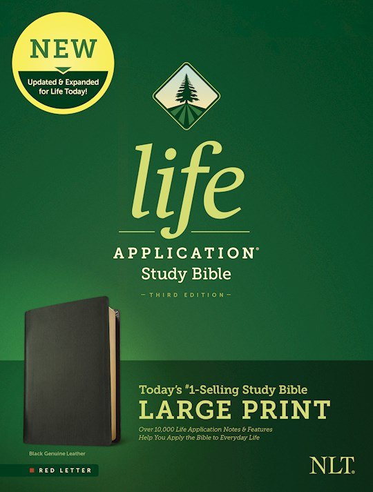 NLT Life Application Study Bible/Large Print (Third Edition) (RL)-Black Genuine Leather | SHOPtheWORD