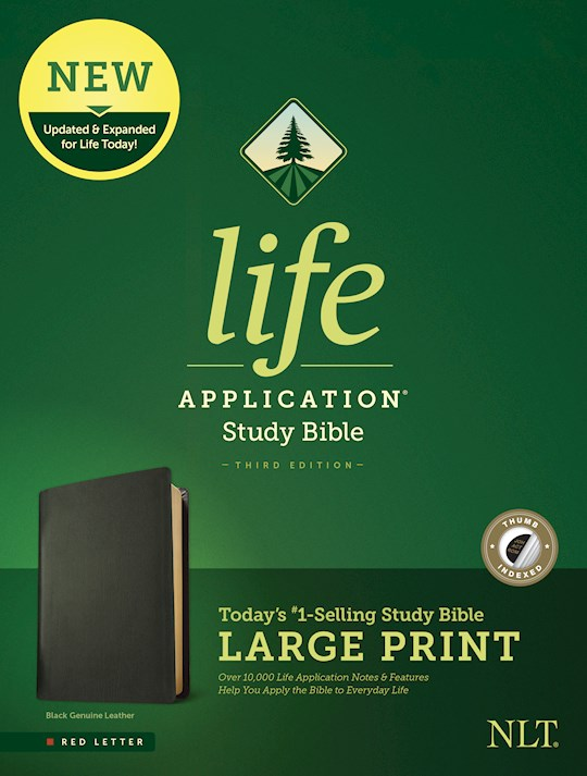 NLT Life Application Study Bible/Large Print (Third Edition) (RL)-Black Genuine Leather Indexed  | SHOPtheWORD