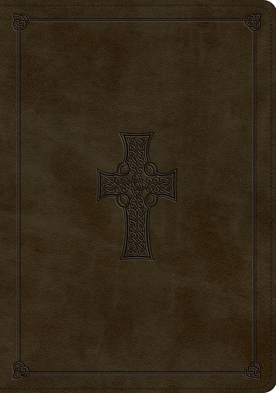 ESV Study Bible-Olive, Celtic Cross Design TruTone Indexed | SHOPtheWORD