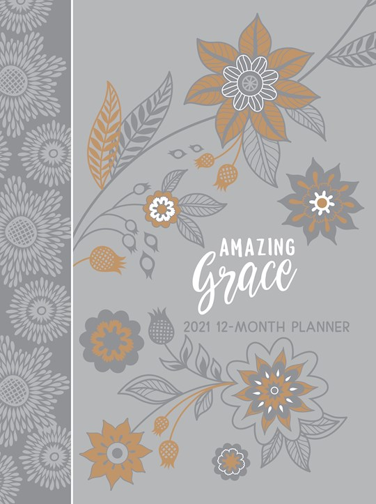 Amazing Grace (Gray) 2021 12-Month Planner-Faux Leather Ziparound (Nov) | SHOPtheWORD