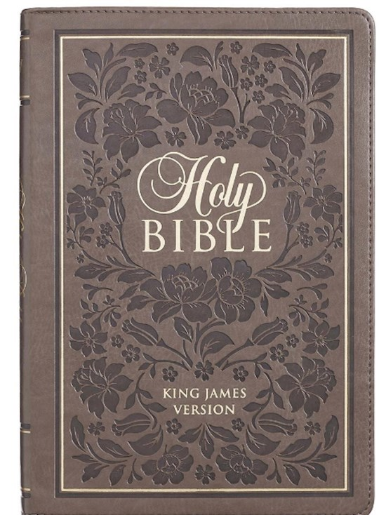 KJV Large Print Thinline Bible-Brown w/Flowers LuxLeather Indexed  | SHOPtheWORD