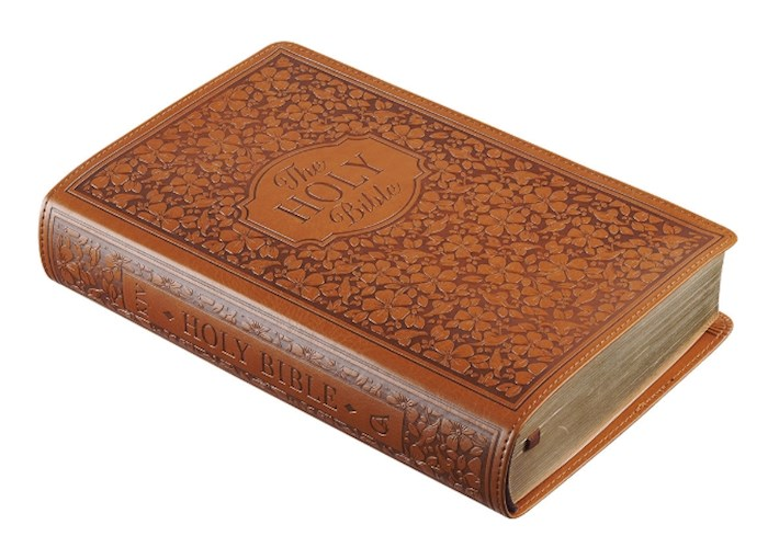 KJV Giant Print Bible-Tan Floral LuxLeather Indexed | SHOPtheWORD