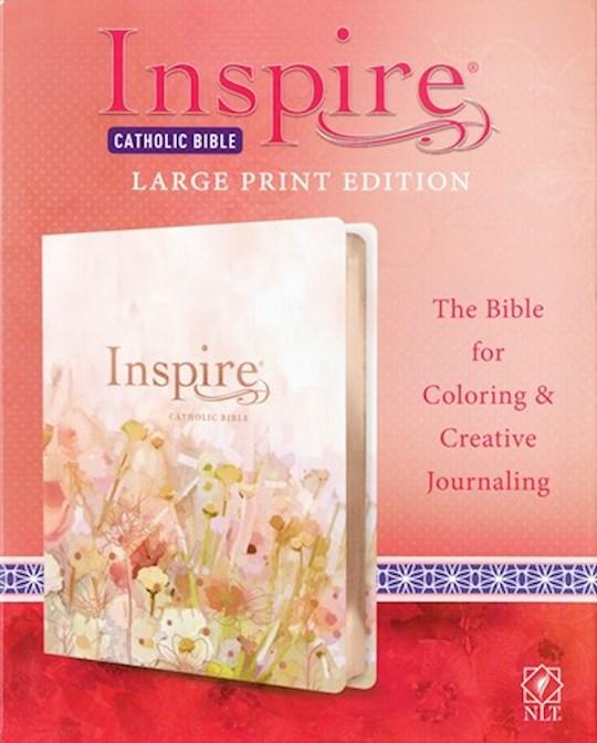 NLT Inspire Catholic Bible/Large Print-Pink Fields w/Rose Gold LeatherLike | SHOPtheWORD