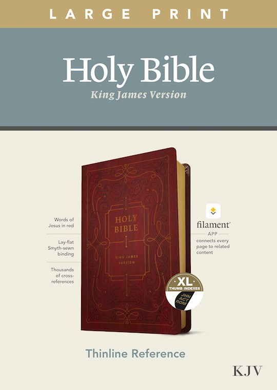 KJV Large Print Thinline Reference Bible/Filament Enabled Edition-Burgundy LeatherLike Indexed  | SHOPtheWORD