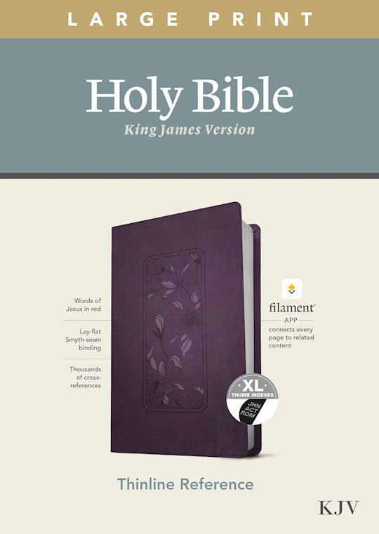 KJV Large Print Thinline Reference Bible/Filament Enabled Edition-Purple Floral LeatherLike Indexed  | SHOPtheWORD