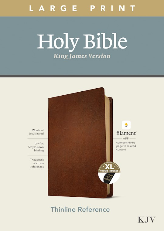 KJV Large Print Thinline Reference Bible/Filament Enabled Edition-Brown Genuine Leather Indexed | SHOPtheWORD