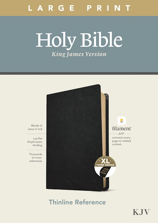KJV Large Print Thinline Reference Bible/Filament Enabled Edition-Black Genuine Leather Indexed  | SHOPtheWORD
