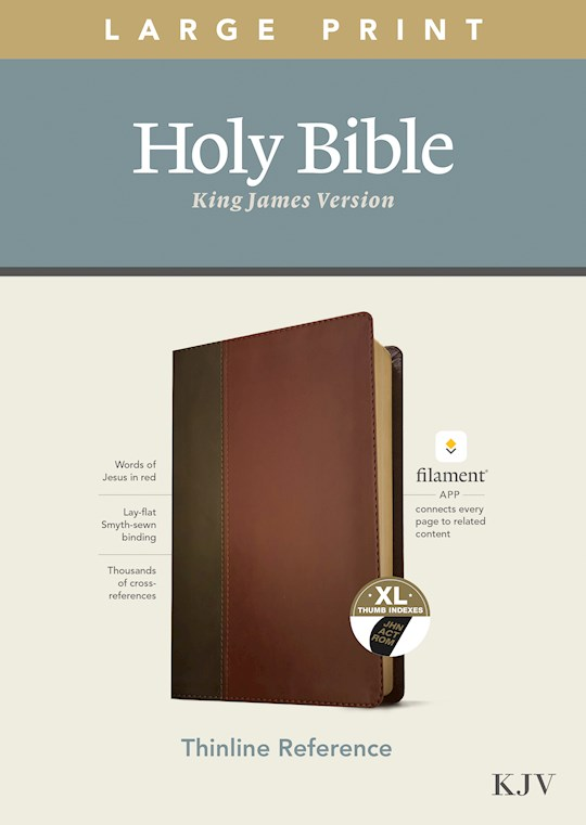 KJV Large Print Thinline Reference Bible/Filament Enabled Edition-Brown/Mahogany LeatherLike Indexed | SHOPtheWORD