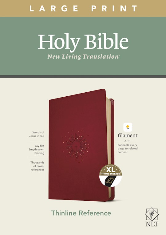 NLT Thinline Reference/Large Print Bible/Filament Enabled Edition-Berry LeatherLike Indexed  | SHOPtheWORD