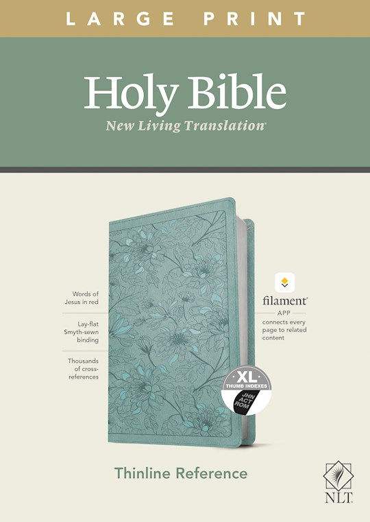 NLT Thinline Reference/Large Print Bible/Filament Enabled Edition-Teal Floral LeatherLike Indexed  | SHOPtheWORD