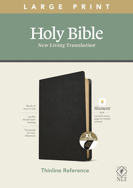 NLT Thinline Reference/Large Print Bible/Filament Enabled Edition-Black Genuine Leather Indexed | SHOPtheWORD