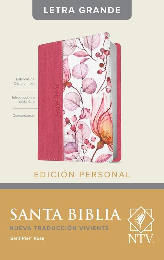 Span-NTV Personal Size Large Print Bible (Edicion Personal Letra Grande)-Pink Floral Leather | SHOPtheWORD