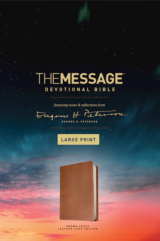 Message/Large Print Devotional Bible-Brown LeatherLook | SHOPtheWORD