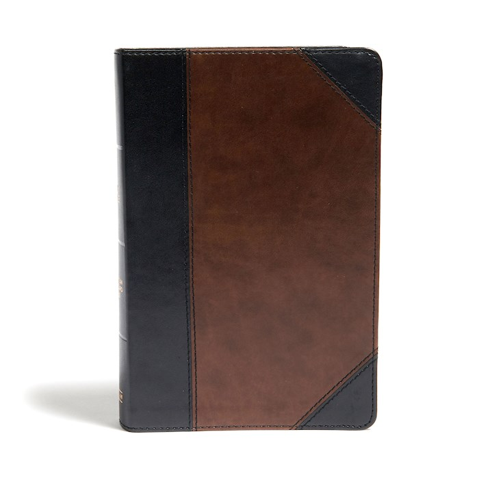 CSB Large Print Personal Size Reference Bible-Black/Brown LeatherTouch Indexed | SHOPtheWORD