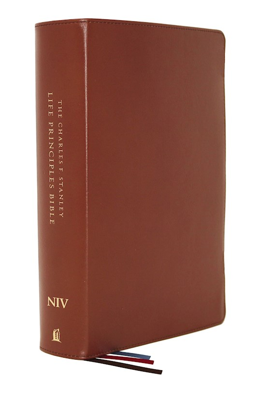 NIV Charles F. Stanley Life Principles Bible (2nd Edition) (Comfort Print)-Brown Genuine Leather Indexed | SHOPtheWORD