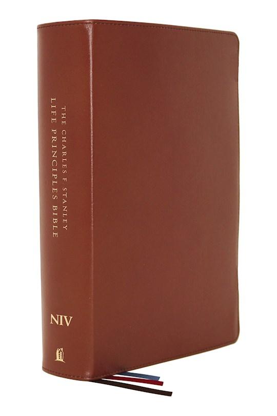 NIV Charles F. Stanley Life Principles Bible (2nd Edition) (Comfort Print)-Brown Genuine Leather   SHOPtheWORD