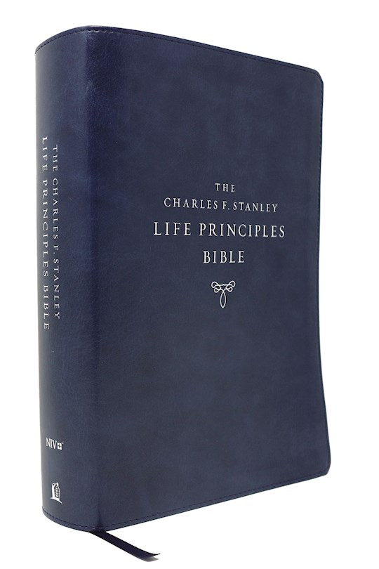 NIV Charles F. Stanley Life Principles Bible (2nd Edition) (Comfort Print)-Blue Leathersoft Indexed | SHOPtheWORD
