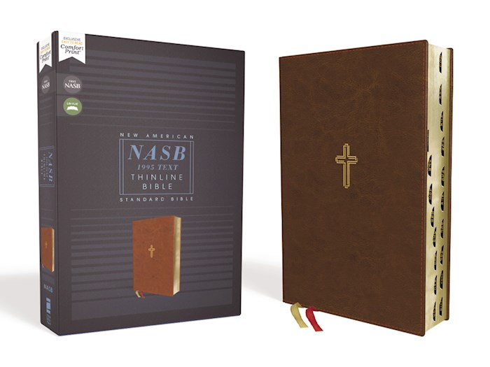 NASB Thinline Bible (Comfort Print)-Brown Leathersoft Indexed | SHOPtheWORD