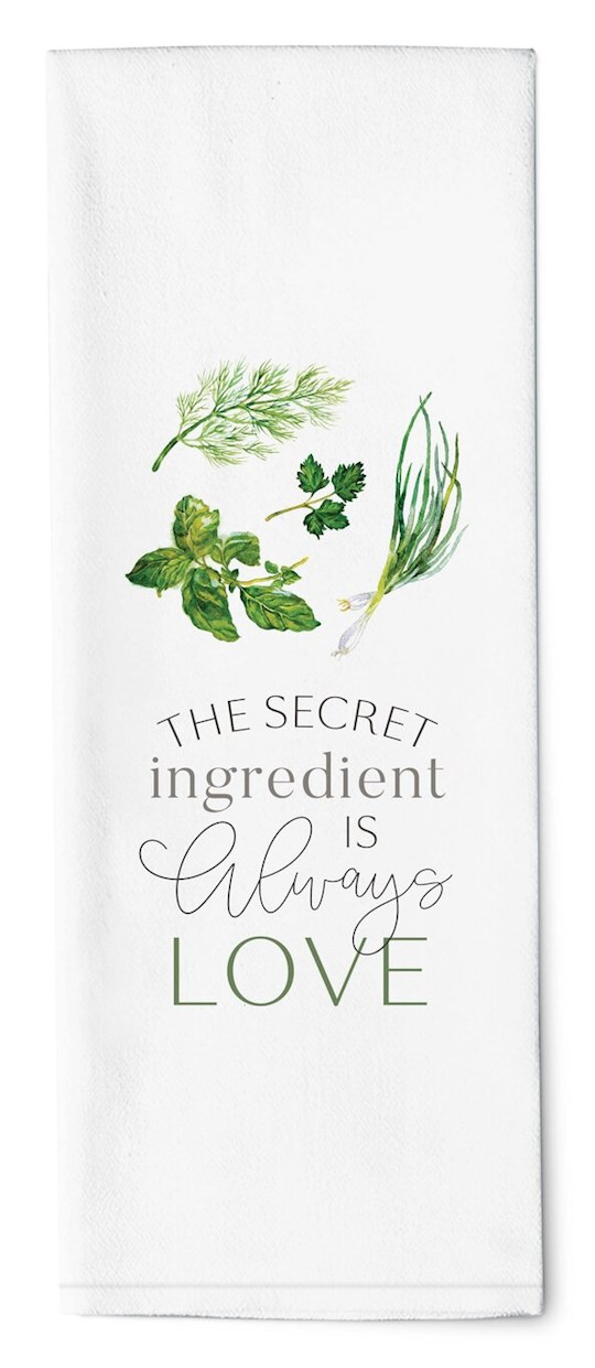 "Tea Towel-The Secret Ingredient Is Always Love (16"" x 28"") | SHOPtheWORD"
