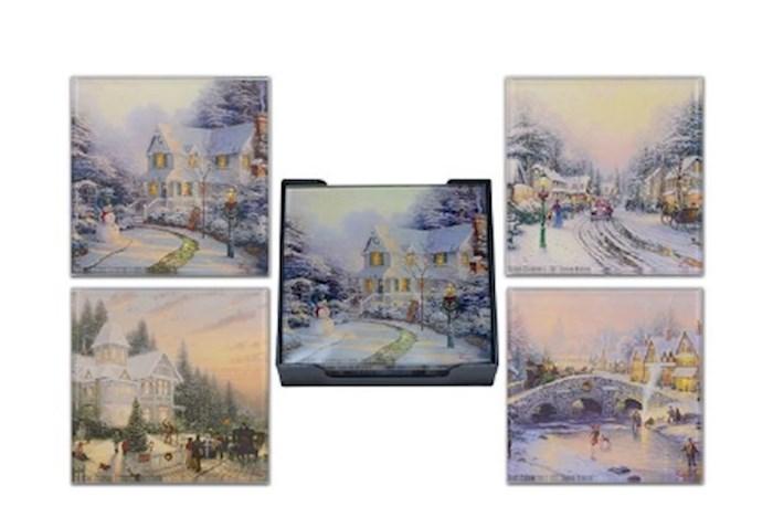 Glass Coaster Set w/Tray-Thomas Kinkade Winter Scenes (Set Of 4) | SHOPtheWORD