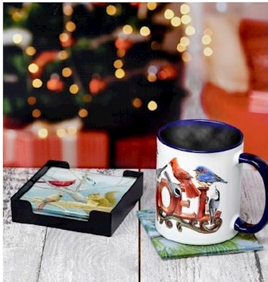 Glass Coaster Set w/Tray-Winter Birds (Set Of 4) | SHOPtheWORD