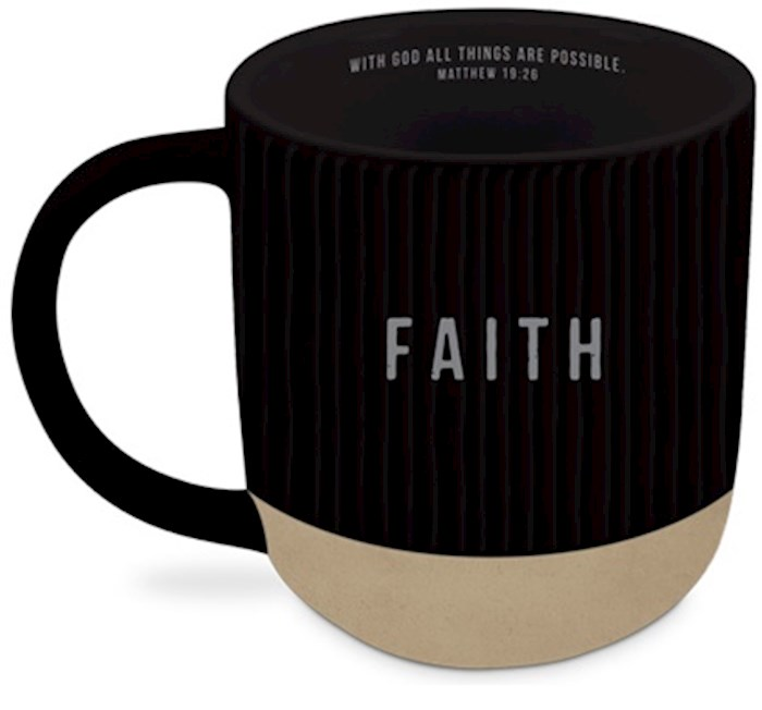 Ceramic Mug-Textured-Black-Faith | SHOPtheWORD