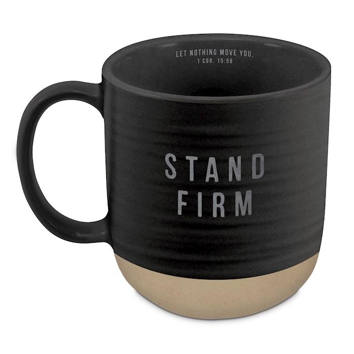Ceramic Mug-Textured-Black-Stand Firm | SHOPtheWORD