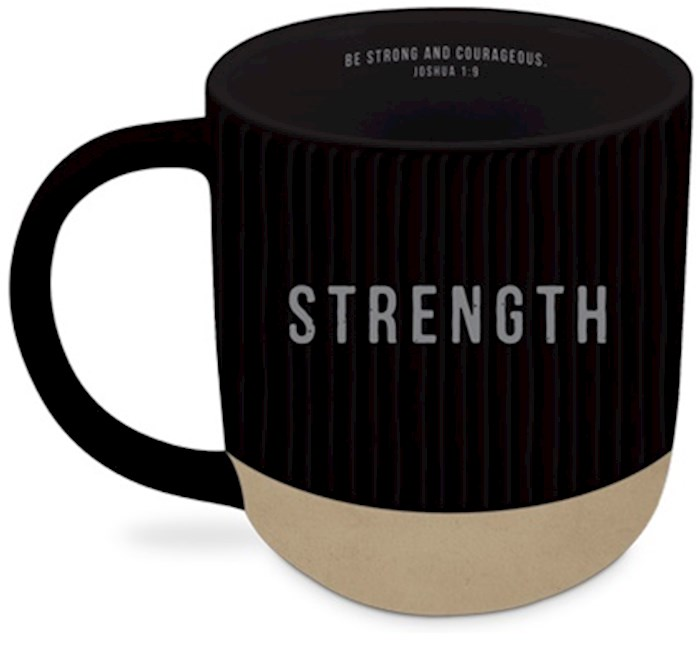 Ceramic Mug-Textured-Black-Strength | SHOPtheWORD